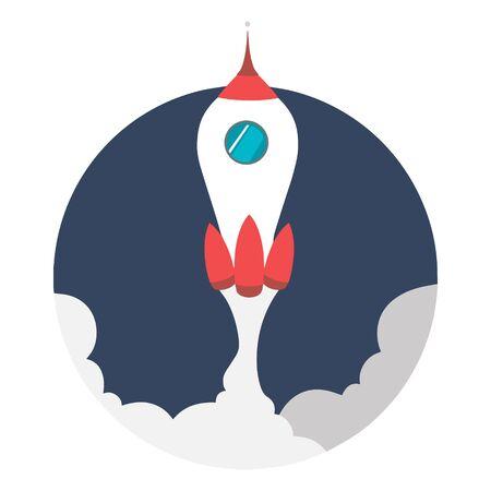 Rocket launch, illustration concept of business product on a market. Illusztráció