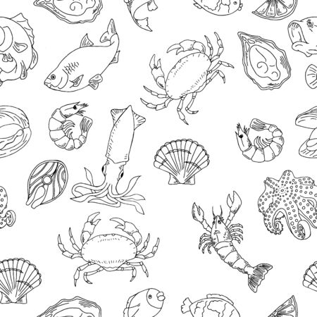 Seafood hand drawn seamless pattern. Design element for poster, wrapping paper.seamless background