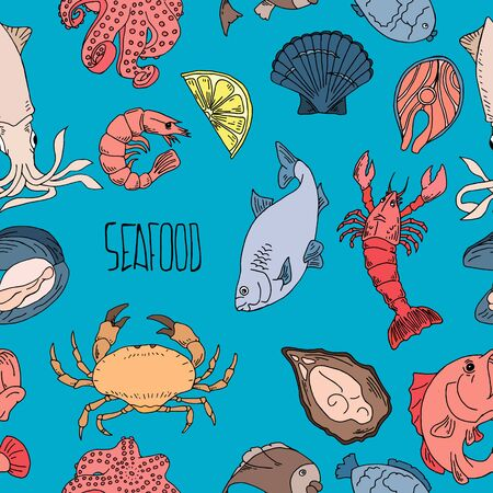Seafood hand drawn seamless pattern. Design element for poster, wrapping paper. 写真素材 - 132840748