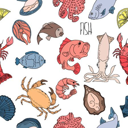 Seafood hand drawn seamless pattern. Design element for poster, wrapping paper. 写真素材 - 132840808