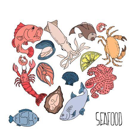Set of hand drawn seafood illustrations isolated on white background. Fish, crab, lobster, oyster, shrimp. Design elements for menu, poster. Vector illustration Illusztráció