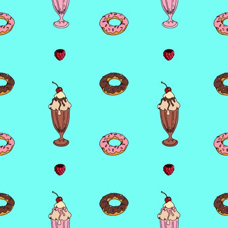 seamless pattern sweet ice cream. menu, postcard