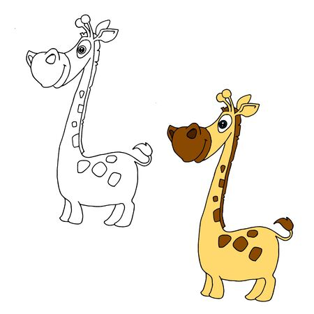 Hand drawn animal for painting with sample. Cartoon giraffe