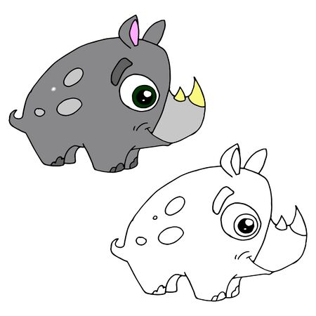 Hand drawn animal for painting with sample. Cartoon rhino Illustration