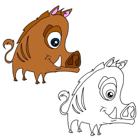 Hand drawn animal for painting with sample. Cartoon boar