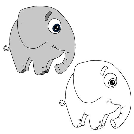 Hand drawn animal for painting with sample. Cartoon elephant Illusztráció