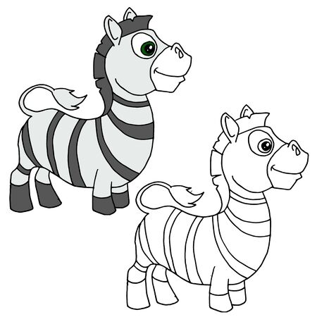 Hand drawn animal for painting with sample. Cartoon zebra