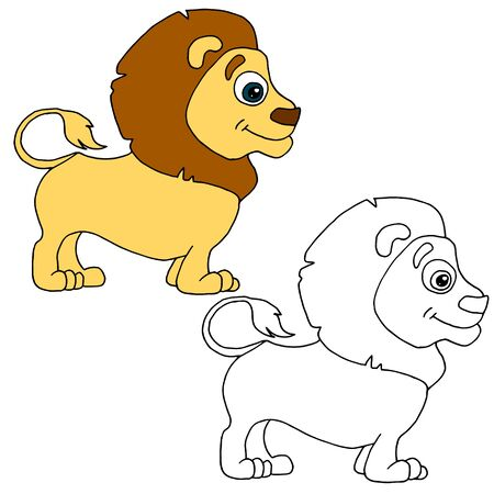 Hand drawn animal for painting with sample. Cartoon lion