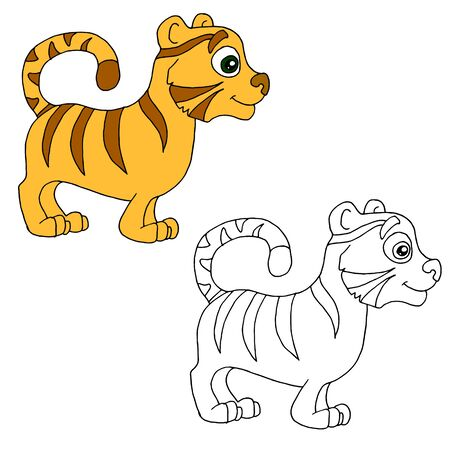 Hand drawn animal for painting with sample. Cartoon tiger