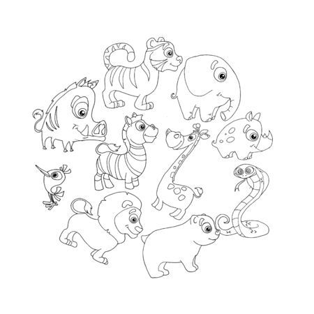 set of doodle hand-drawn animals of animals
