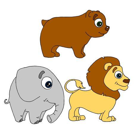set of african animal cartoon bear, elephant, lion