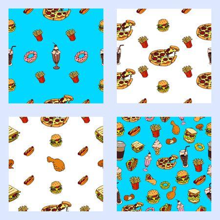 Set of seamless fast food backgrounds. vector Illusztráció