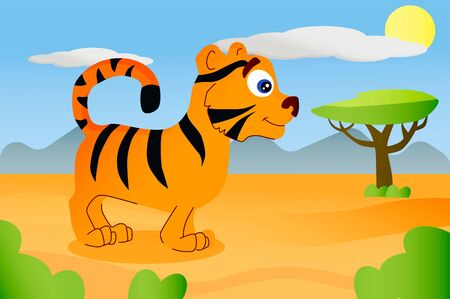 Tiger african animal in cartoon style on africa background