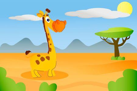 Giraffe african animal in cartoon style on africa background