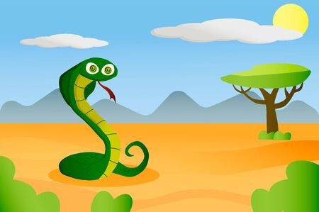 African animal snake in cartoon style on africa background
