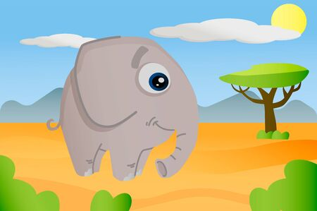 Elephant african animal in cartoon style on africa background