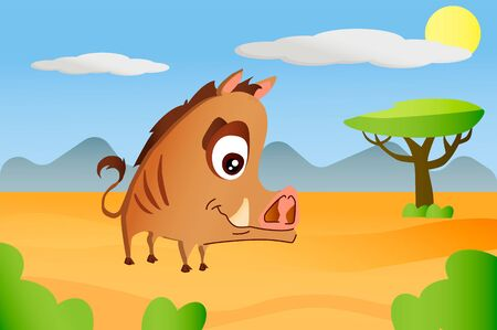 Wild boar african animal in cartoon style on africa background