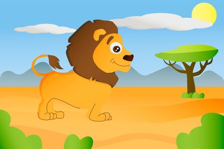 Lion african animal in cartoon style on africa background Illusztráció