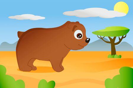 African animal bear in cartoon style on africa background Illusztráció