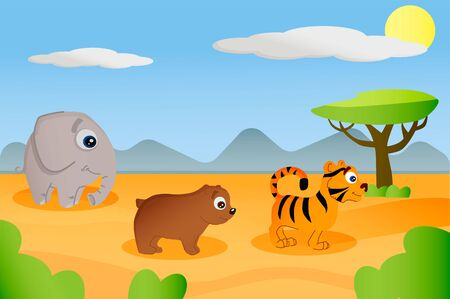 set of animals elephant, tiger, bear on a background of Africa