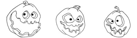 Set of freehand sketching pumpkins for halloween.