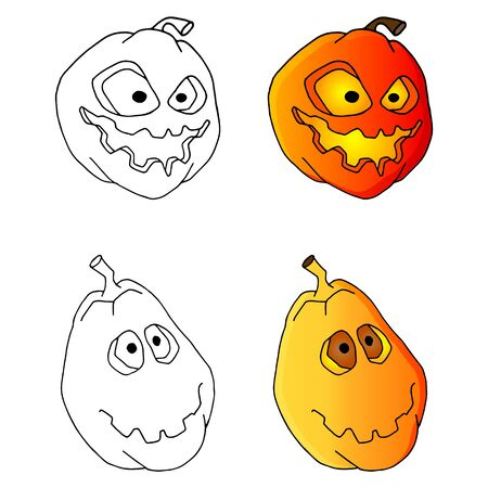 set of scary pumpkins for halloween. Handmade sketch on a white background