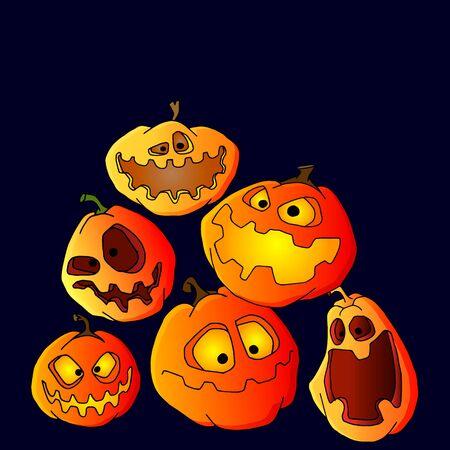 Hand drawn pumpkin set for halloween Illusztráció