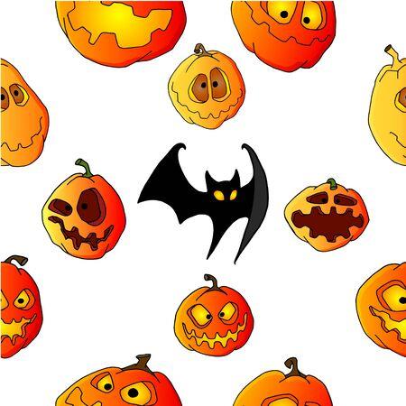 Halloween pumpkin set seamless pattern
