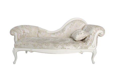 upholstered: classical light carved wooden sofa upholstered isolated