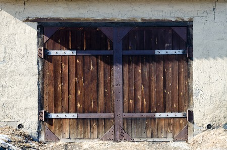Old Dark Wooden Garage Door For Car Stock Photo Picture And Royalty