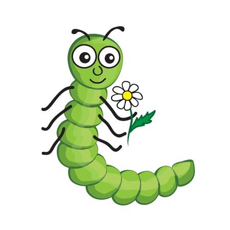 lombriz de tierra: illustration of isolated cartoon worm on white background