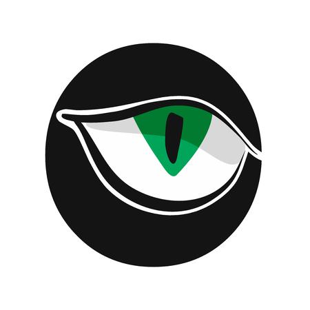 green staring cat eye symbol vector illustration