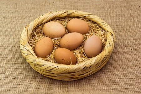 fresh organic chicken eggs laid on the basket with straw Stock Photo