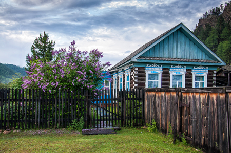 Traditional Russian old country wooden house with fence and amazing lilac Stock Photo