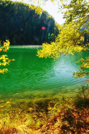 mountain autumn green siberia lake with reflection Kho ảnh