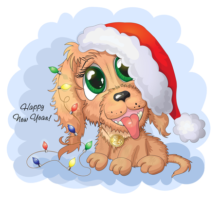 Vector illustration. Cute cartoon vector puppy dog with new year lights and red cap Stock Vector - 114831791