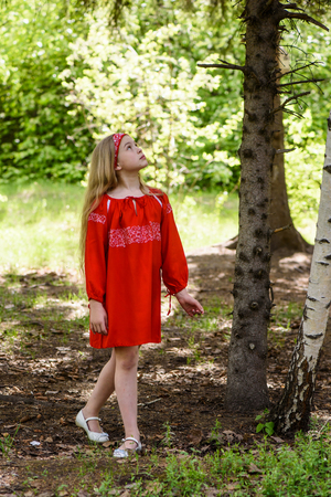 Blond young girl posing in a red dress near birch trees