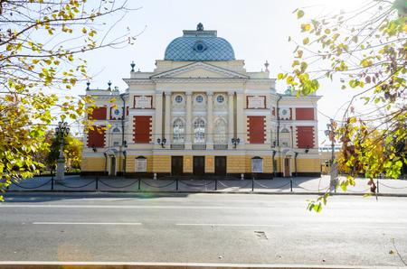 IRKUTSK, RUSSIA - October 6, 2012: Okhlopkov Drama Theatre in Irkutsk, Russia. Irkutsk Academy Drama Theater during a autumn day. Standard-Bild - 124658974