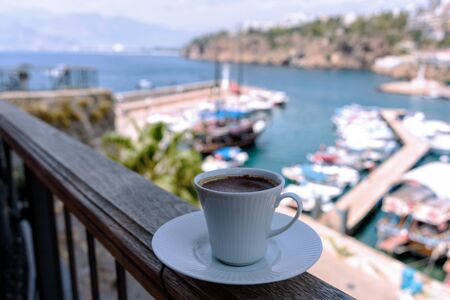 Old port of Kaleici from the restaurant with a cup of strong and hot Turkish coffee, Antalya, Turkey. 版權商用圖片