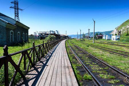 rails-Siberian railroad at the station Port Baikal in summer 스톡 콘텐츠