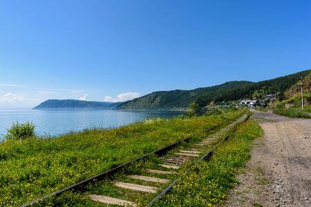 Circum-Baikal railroad on the coast of Lake Baikal, Eastern Siberia, Russia Stock fotó