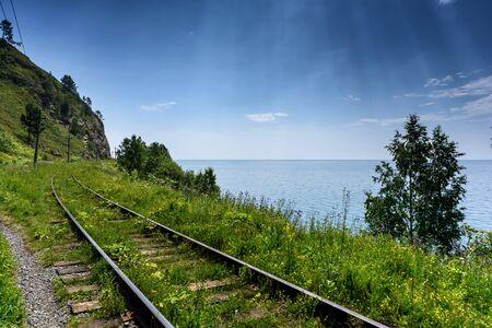 Circum-Baikal railroad on the coast of Lake Baikal, Eastern Siberia, Russia Imagens