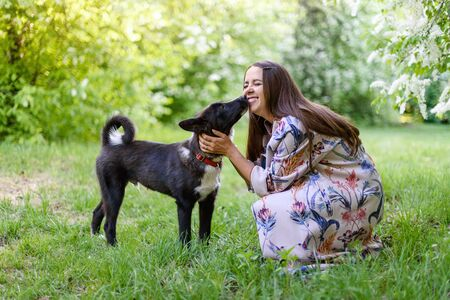 Beautiful happy woman with black dog on fresh green meadow and forest. She is hugging and kissing him Zdjęcie Seryjne