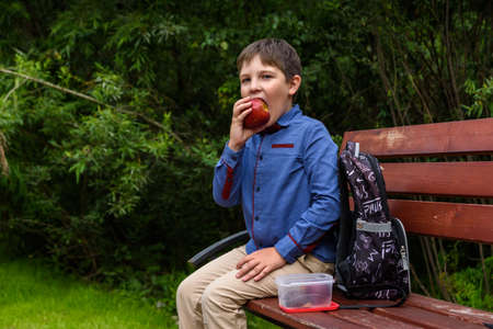 Little kid boy with backpack eating fresh apple on a street Standard-Bild