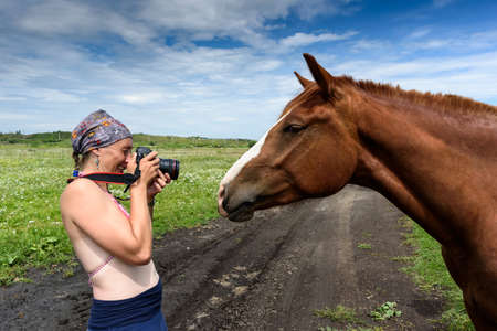 Photographer taking pictures of horse in the field