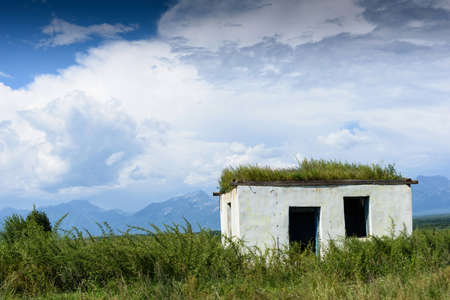 Old small abandoned and ruinous country house with plants on the roof in Russia with clouds sky Standard-Bild