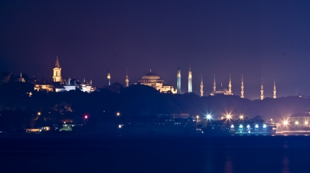 A Different Silhouette of Istanbul. You can see The Blue Mosque  (Sultan Ahmet Cami) , Hagia Sofia (Aya Sofya), and Topkapi Palace. Stock Photo