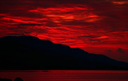 Red Lava Sky Stock Photo