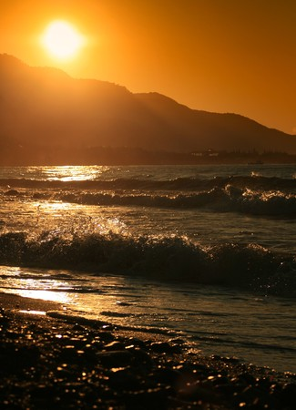 Sunrise on a hot summer morning by the beach.