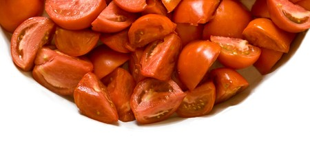 cut and paste: Cut tomatoes to make tomato paste. Stock Photo
